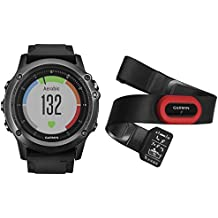 Garmin 010-01338-74 Fenix 3 HRM - Reloj multideporte con GPS y correa, Reloj Gris/Correa Negra, Talla única