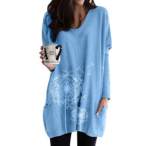 Fenverk Minikleider Plus Size Oberteile Damen Oversize Pullover Long Shirts Winter Herbst Große Größen Sweatshirts Rundhals Sweatshirt Casual Langarmshirt Pulli Lange Bluse Top Tunika(Blau,M)