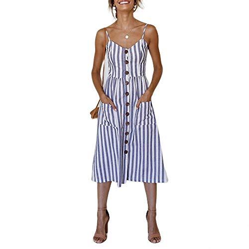 YuJian12 Casual Vintage Sommerkleid Frauen Sommerkleid Boho Sexy Kleid Midi Button Backless Polka Dot Striped Floral Strandkleid Female-in Kleider von Frauen Himmelblau (Girls Yellow Polka Dot Kleid)