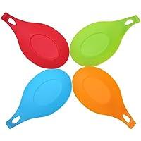 Silicona cuchara resto, 4 piezas soportes para cocina Utencils, cuchara, cucharón, espátula, pinzas-Rojo, naranja, verde, azul