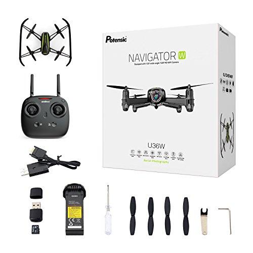 Potensic Drone U36W con Telecamera HD 720P WiFi FPV 2.4Ghz , Drone Telecomandato Funzione di Sospensione Altitudine,Allarme di fuori la gamma di volo