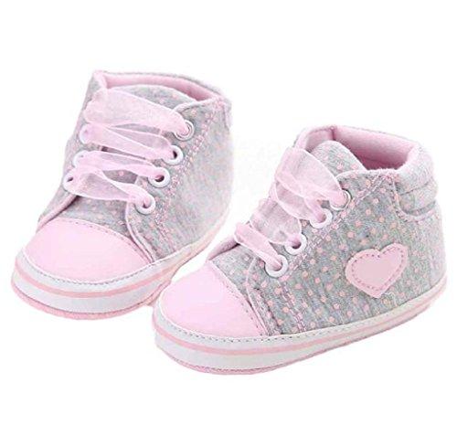 Covermason Baby Mädchen Krippe Schuhe Kleinkind Stiefel Weiche Sohle Sneaker Grau