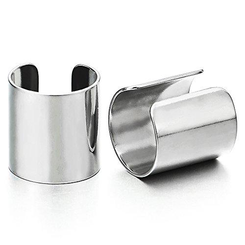 2 Stück Ohr Clip-on Creolen Cuff für Herren Damen, Edelstahl Ohr Manschette Ohrringe, Fake Piercing (Edelstahl Ohr Manschette)