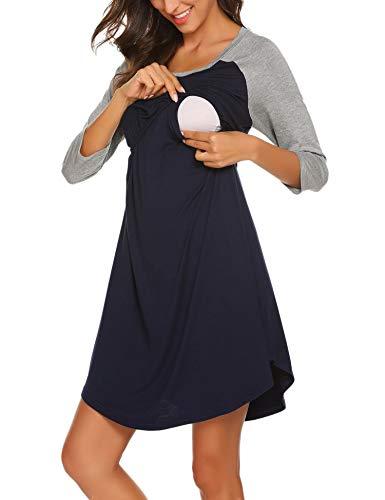 Unibelle Umstandskleid Umstandsmode Damen Nachthemd Umstandsnachthemd Stillnachthemd Kurzarm Nachthemden für Schwangere und Stillzeit