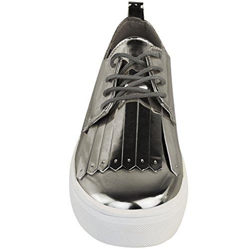 DONNA SNEAKER SCARPE SPORTIVE BASSA CON LACCI NAPPA Scarpe da ginnastica palestra sport taglia Canna di fucile grigio cromo metallizzato