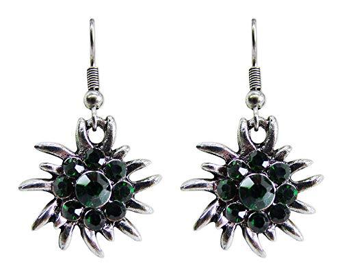 Trachtenland - Orecchini a forma di stella alpina - con strass - Gioielli per Dirndl e costume tradizionale, colore: verde abete