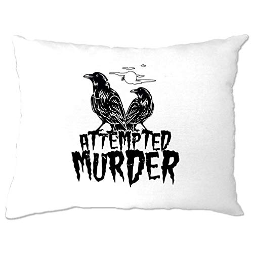 Tim And Ted Halloween Kissenbezug Mordversuch Crow Pun White One Size