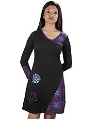 Femme col V à manches longues Robe imprimée avec broderie de fleurs -Dahlia