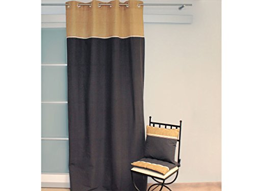 Soleil d\'ocre Tenda in Cotone con Paramento in Juta 140 x 240 cm Jute Grigio