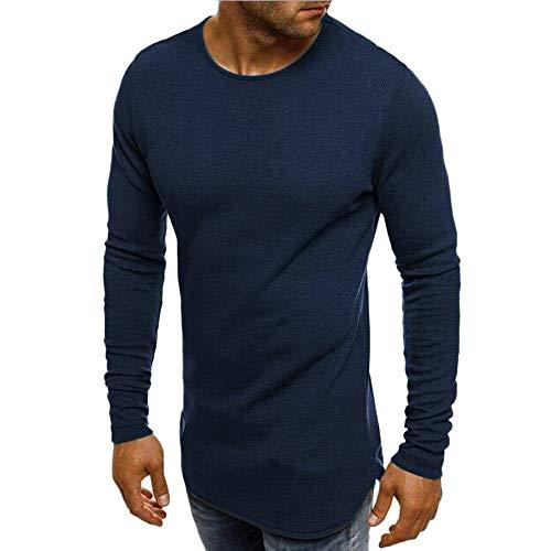 Xmiral Herren Pullover Sweatshirt Beiläufige Feste Lange Hülse dünn T-Shirt Bluse Bodenbildung Herbst und Winter(L,Dunkelblau)