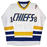 Micjersey Hanson Brothers Trikot Charlestown Chiefs 16,17,18 Slap Shot Eishockey Movie Jersey - Weiß - XX-Large