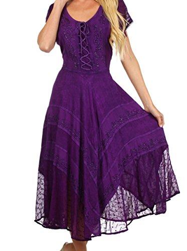 ume Gesticktes Feekleid - Lila - 1X/2X (Lila Renaissance Kleider)