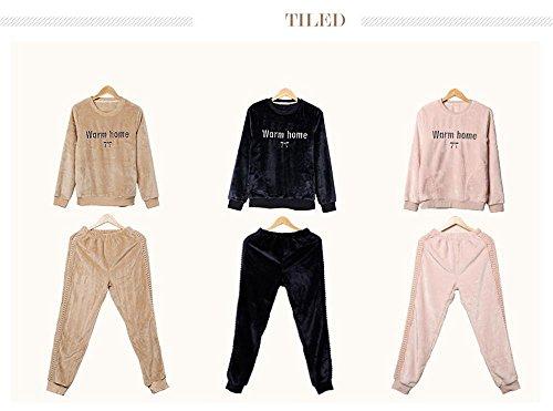 Manches longues flanelle pyjamas sortie hiver lingerie de nuit dernières femmes qui peut être porté à l'extérieur Blue