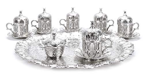 Mokkaservice Set Türk Kahve Seti mit 6 Tassen in Silber