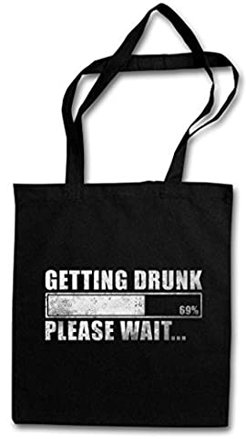 GETTING DRUNK HIPSTER BAG – Please Wait Fun Drinker Boose Hangover Barfly Party University Beer Whiskey Scotch Single Malt Bourbon Vodka Gin Tonic Cocktails Drinker Spring Break Booze