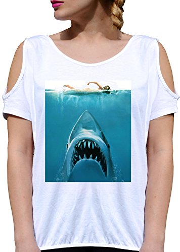 T SHIRT JODE GIRL GGG27 Z1169 SHARK OCEAN MAN SWIMMING WILD ANIMAL FUN FASHION COOL BIANCA - WHITE