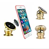 PR Universal 360 Degree Rotating Car Phone Stand, Universal Magnetic Mount Holder For All Phone Sizes, Mobile, tablet or GPS (Golden)-Tata Indica Ev2