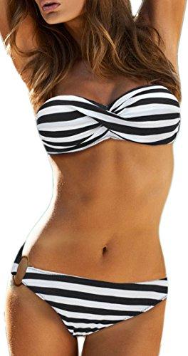EUDOLAH Damen Bandeau Padded Bikini-Set Trägerlosen Badeanzug Push Up (M, A-schwarz Streifen) (Shorts Frau)