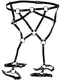 dPois Harness Punk Gothic Harness G/ürtel mit Strumpfband Elastisch Dessous Fetisch Bein Str/ümpfe G/ürtel Strumpfhalter Leder Taille Bein Caged Harness