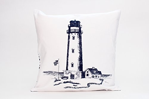 Kissenbezug Aycke 40x40cm Kissenhülle maritim Leuchtturm vintage Sommer Streifen blau weiß gestreift Leinen Leinenoptik Dekokissen