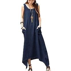 Zilcremo Las Mujeres Ropa De Cama De Algodón Sin Mangas Sueltas Vintage Maxi Vestido Irregular Darkblue XL