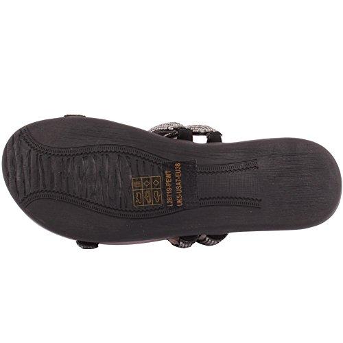 Unze Frauen 'Rubie' flach verziert Sommer Pantoffeln Party-Abschlussball zusammen Brunch Karneval Hochzeit Abend Slip-On Sandalen Schuhe Größe 3-8 - F613-1 Zinn
