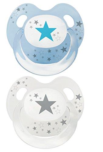 Baby Nova Dental Babysauger Beruhigungssauger Slimline Schnuller Sterne (Gr 3: ab 18 Monate, 2 Stk blau und transparent mit grau)