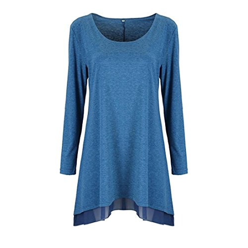 Elecenty Damen Überlagert Hemdkleid Lose Blusekleid Spitze Solide Rock Mädchen Langarmkleid Kleider Frauen Mode Kleid Minikleid Sweatshirt Kleidung Partykleid (XL, Blau) (Mädchen A-linie-jumper)