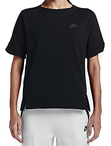 Nike Damen Tech Fleece Crew Sweatshirt, schwarz, 40/42 - Fleece Crew Sweatshirt