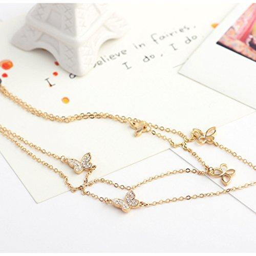 Neoglory Jewellery Boucles d'oreille en plaqué or 14K avec strass, Motif papillon blanc