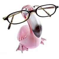 by-Bers Brillenhalter Die_Vögel Design Flamingo, handbemalt, echt lustig, aus Polyresin, für Kinder und Erwachsene