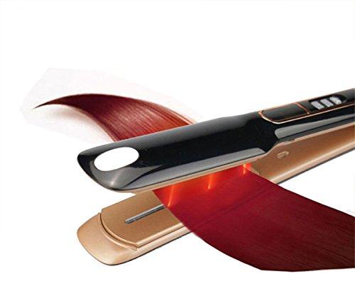 BXX Echte Haarglätter elektrische Schiene Dampf feuchtigkeitsspendende Infrarot-Haar gerade Dauerwelle Dauerwelle,schwarz,Einheitsgröße - Feuchtigkeitsspendende Lockenstab