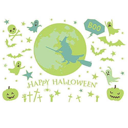 Kicode Halloween leuchtend Wandaufkleber Abnehmbare DIY Ghost Kürbis PVC Wandgemälde Art Home Bar Party Dekor Fensterabziehbild (Halloween Dekor Outdoor Ideen)