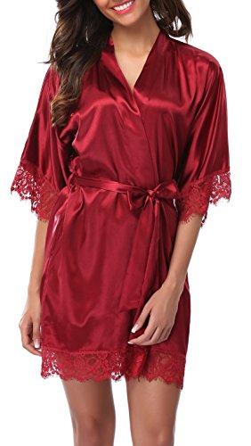 Lace Trim Mädchen Kurze (Old-Times Damen Bademantel aus Satin, Kurze Spitze, Seide, Brautjungfern - Rot - Large)