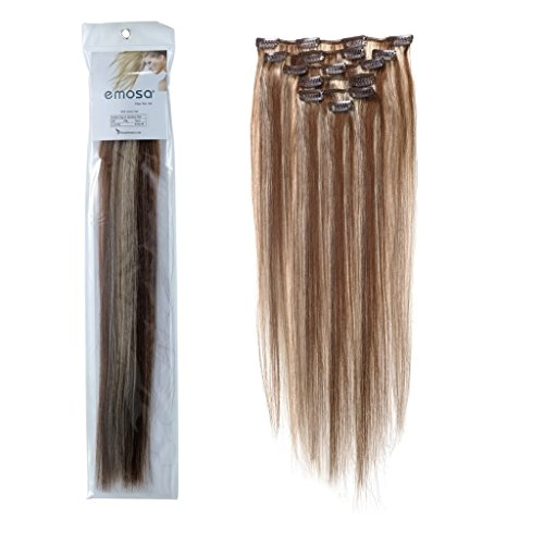 Emosa 7Pcs 70g Clip In Silky Soft Remy Real Human Hair Extensions #4/613 Medium Brown Mixed With Light blonde Silky Soft (Hair Human Grammy Extension)