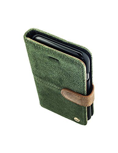QIOTTI >             Apple iPhone 7 (4,7&quot;)             < incl. PANZERGLAS H9 HD+ Geschenbox Booklet Wallet Case Hülle Premium Tasche aus echtem Leder mit Kartenfächer. Edel verpackt incl. Stoffbeutel. RAW KOLLEKTION in MOOS  MOOS