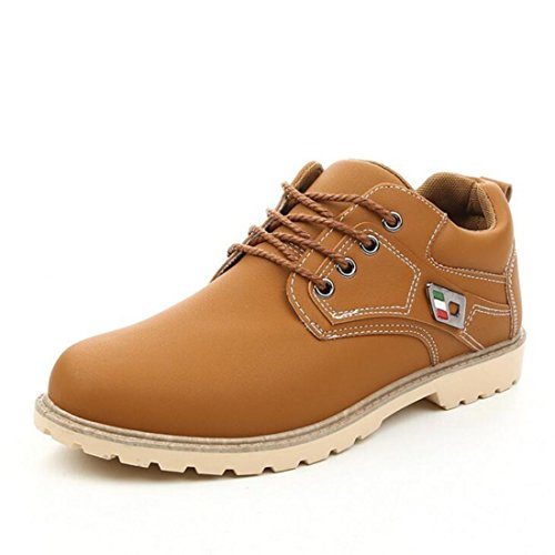 Men's Lace Up PU Leather Ankle Shoes kakhi
