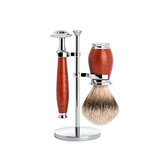 뮐레 클래식 면도기 세트 MÜHLE Purist Series 3-Piece Shaving Set Silver-Tipped Badger Hair Brush Safety Razor Briar Root Wood Handle