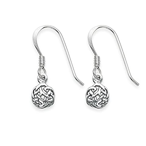Sterling Silver small Celtic round drop earrings - SIZE: 6mm 6404. Shipped in our quality Silver Gift Box by 1st class mail