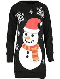 Damen Weihnachten Pom Pom Schneemann Karotten Nase Roter Hut Schalldämpfer Schneeflocken Bedruckt Gestrickt Sweatshirt Winter Fleece Pullover Gestrickt Kleider
