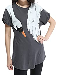 ELLAZHU Femme Col-Round Crane&Fox Courte Curling Manche T-shirt Taille unique HG17