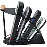 Snazzynest Remote Control Storage Organizer 4 Slot Stand, Metal Remote Control Organizer Caddy Space Saving Black Metal Fan Design 4 Slot TV Remote Control Storage Organizer Caddy Multi Remote Control Stand/Organizer/Rack For TV Etc. Multi Remote Control