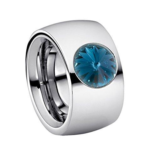 Heideman Ring Damen Coma 14 aus Edelstahl Silber farbend poliert Damenring für Frauen mit Swarovski Stein Kristall Montana blau im Fantasie Edelsteinschliff 10mm -