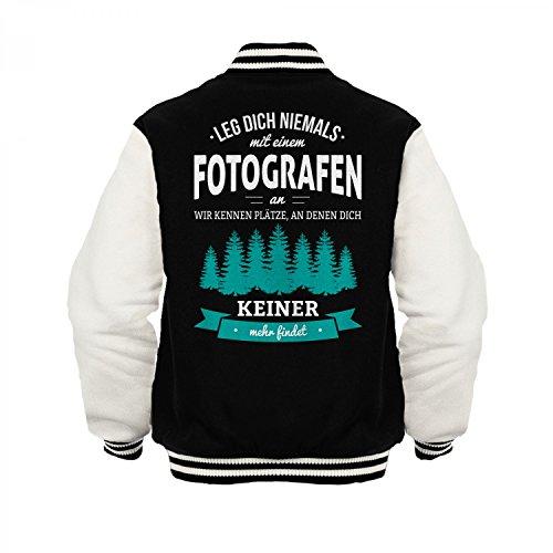 Fashionalarm Herren College Jacke - Leg dich niemals mit einem Fotografen an | Varsity Baseball Jacket | Sweatjacke als Geschenk Idee Beruf, Farbe:schwarz / weiß;Größe:3XL