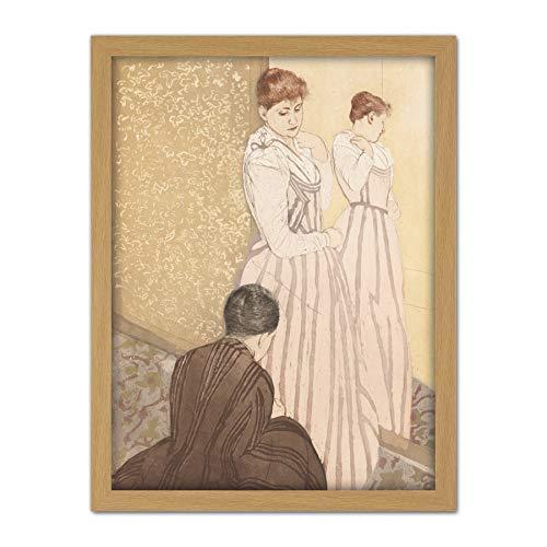 Contemporary Print Kleid (Cassatt The Fitting Dress Painting Artwork Framed Wall Art Print 18X24 Inch Kleid Malerei Wand)