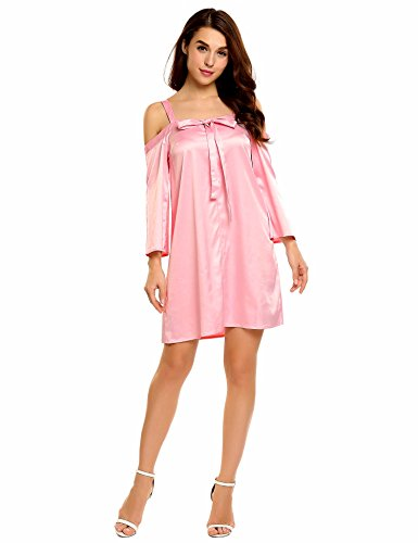 Meaneor Damen Carmenbluse Schlupfbluse Nachtwäsche Offshoulder-Bluse in matt glänzendem Satin Blusentunika Pink