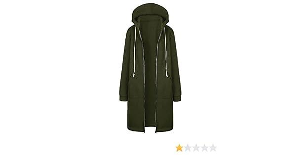 8752ae7a181f Rosennie Damen Hoodies Sweatjacke Winter Jacke Mantel Frau Lange Mantel mit Kapuze  Jacke Outwear Frauen Warm Zipper Long Coat Fashion Solid Stricke Pullover  ...