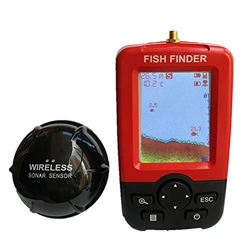 AKTET Handheld Wireless Fishfinder Tragbarer Angelkajak Fischtiefensucher Angelausrüstung mit Sonar-Wandler und LCD-Display Handheld-fishfinder