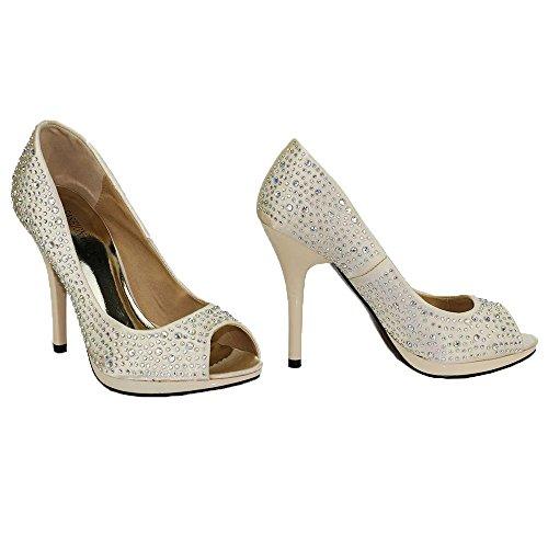 Plateau Sandaletten Keilabsatz Damen High Heels Schuhe Damen Court Peep Toe  Platform Perlen Party Hochzeit New