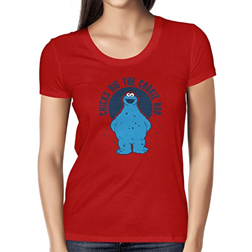 TEXLAB - Chicks dig the Cookie Bod - Damen T-Shirt, Größe M, (Muffin Mann Kostüm)
